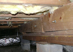 A sagging crawl space with concrete supports and wooden shimming a Mission crawl space