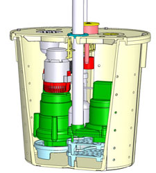 Illustration of two Zoeller® sump pumps in a pump liner