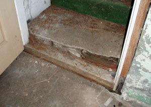 A flooded basement in Agassiz where water entered through the hatchway door