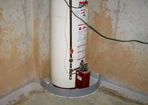A water heater in Port Moody that's been protected by the FloodRing® and a perimeter drain system.