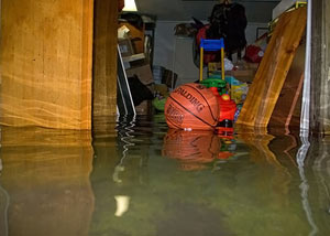 A flooded basement bedroom in Becarra