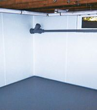Plastic basement wall panels installed in a Port Coquitlam, British Columbia home