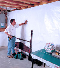 Plastic 20-mil vapor barrier for dirt basements, Port Coquitlam, British Columbia installation