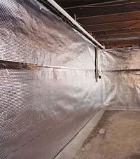 Radiant heat barrier and vapor barrier for finished basement walls in Port Coquitlam, British Columbia
